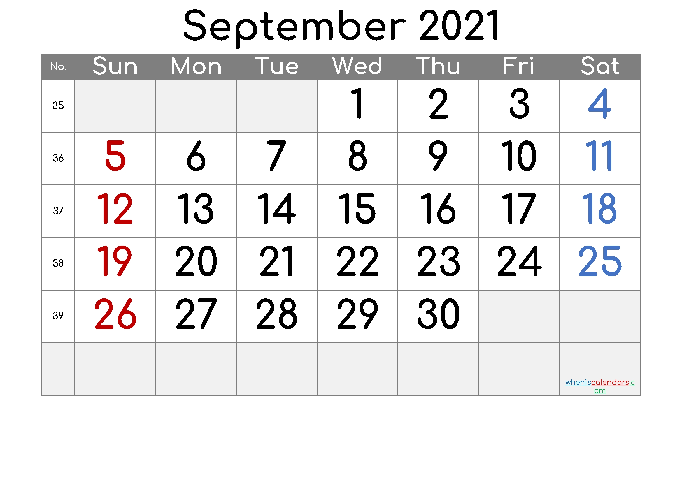 Free Printable Calendar 2021 September - 6 Templates 2021 Calendar September Month