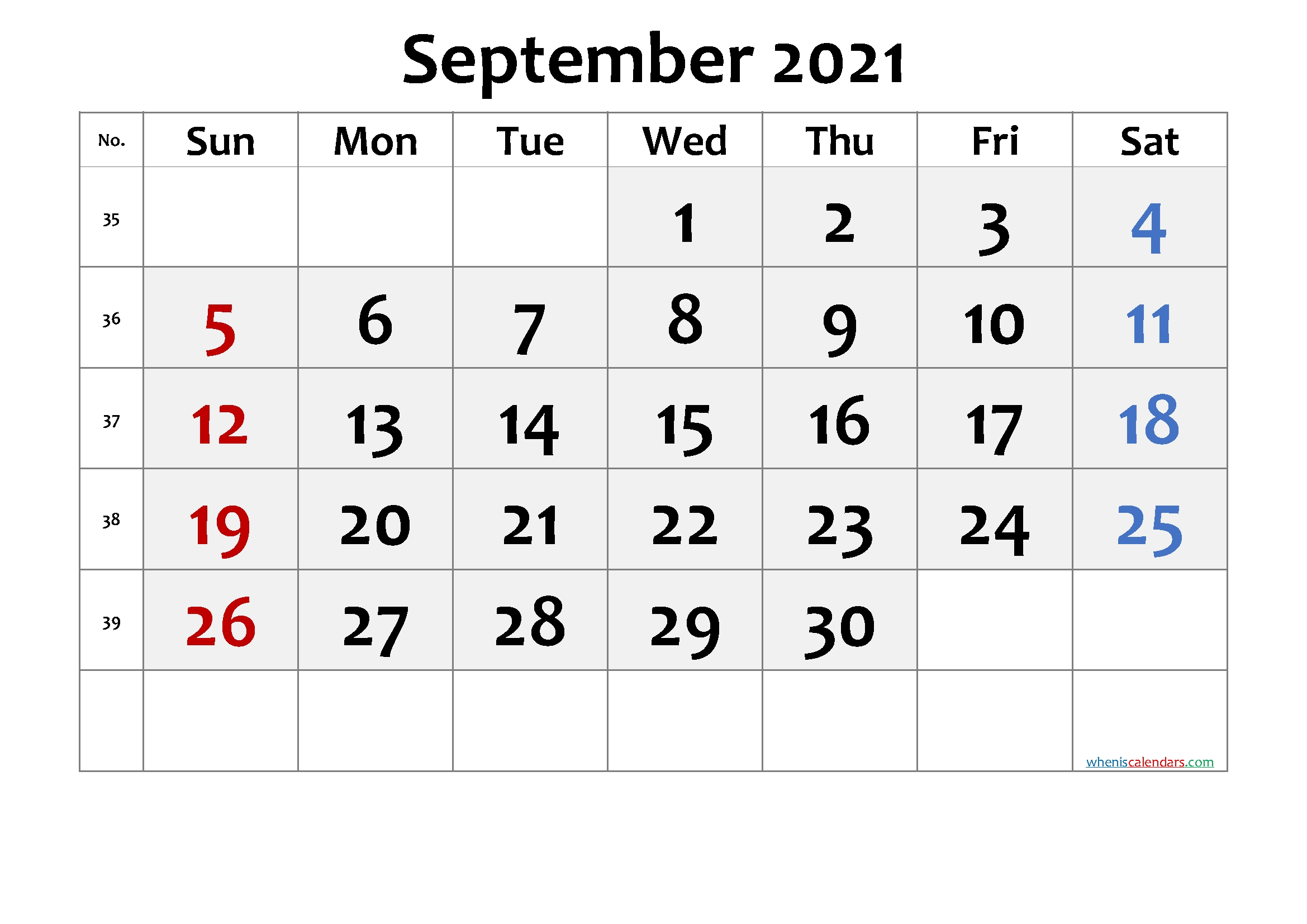 Free Printable Calendar 2021 September - 6 Templates September 2021 Calendar Template