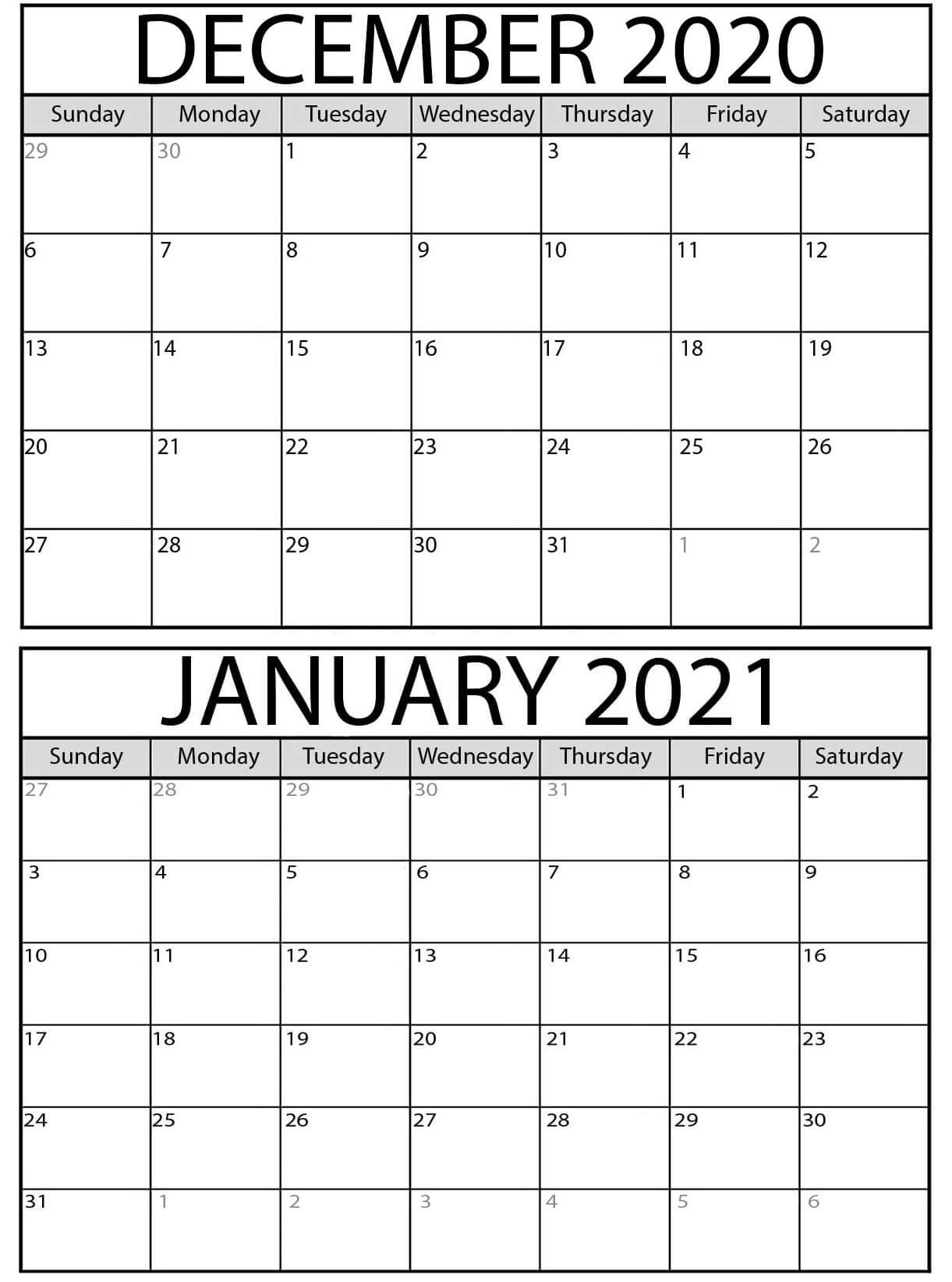 Free Printable Calendar December 2020 January 2021 - Printablecalendarr Calendar December 2020 January 2021