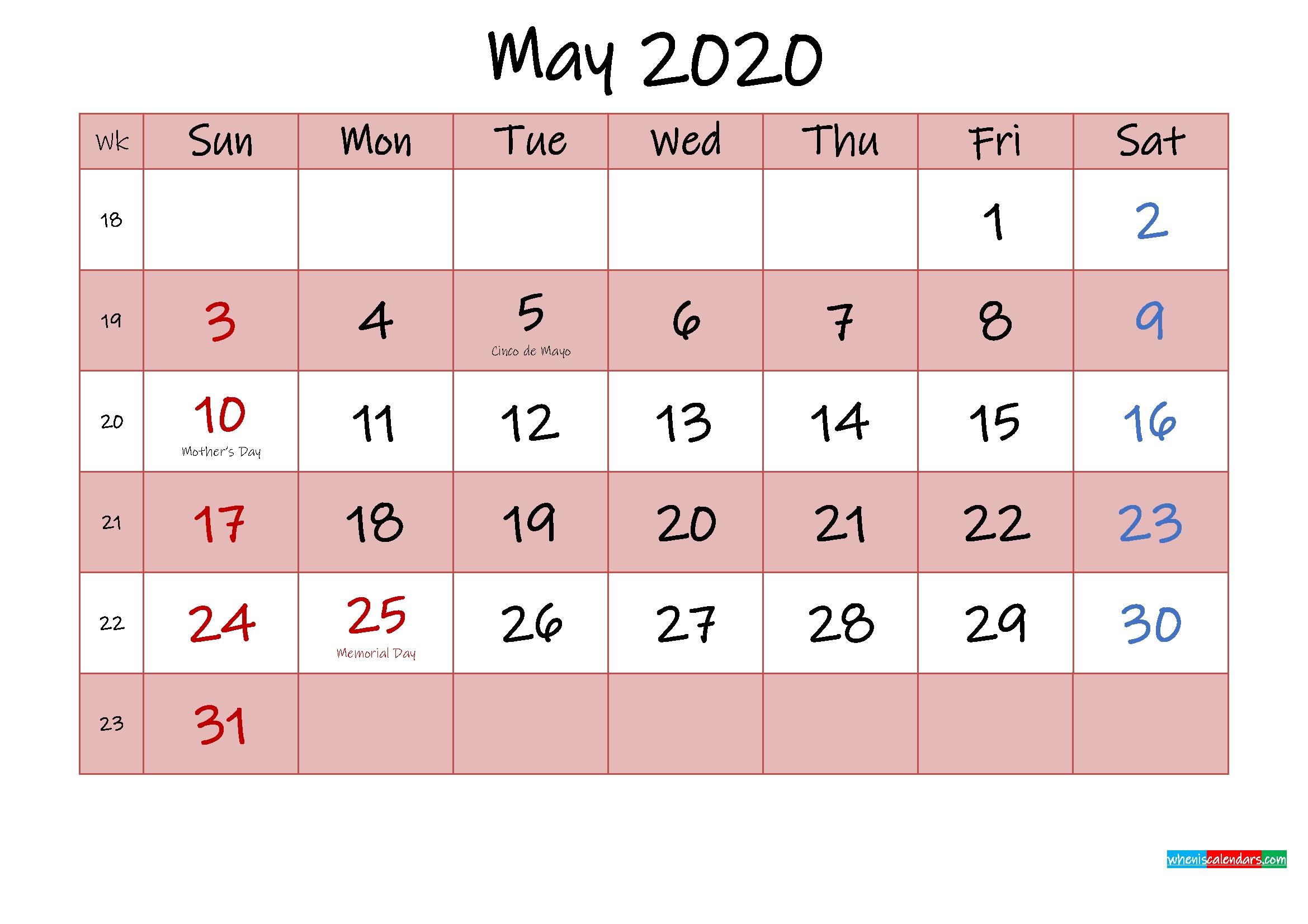 Free Printable Coloring Calendar 2020 May - Template No.ink20M437 - Free Printable 2020 Monthly June 2021 Calendar Holidays