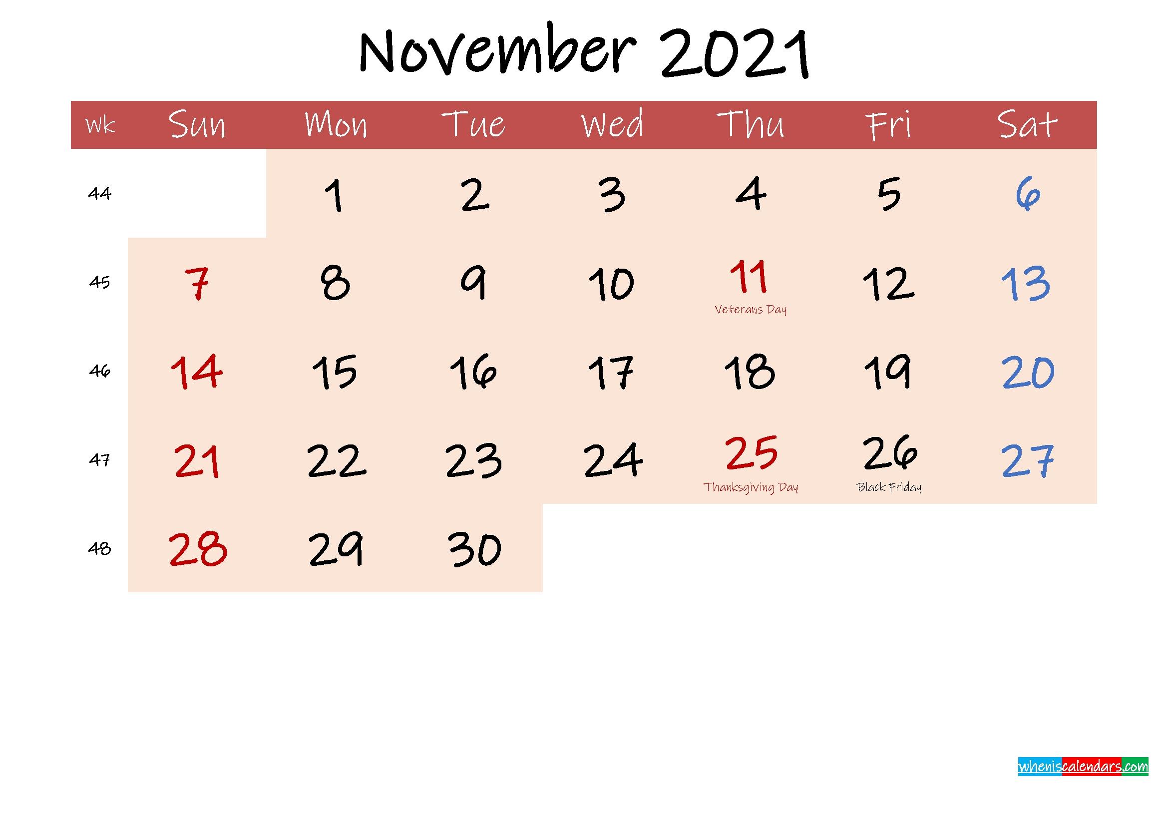 Free Printable Coloring Calendar 2021 November - Template No.ink21M203 November 2021 Calendar Quiz