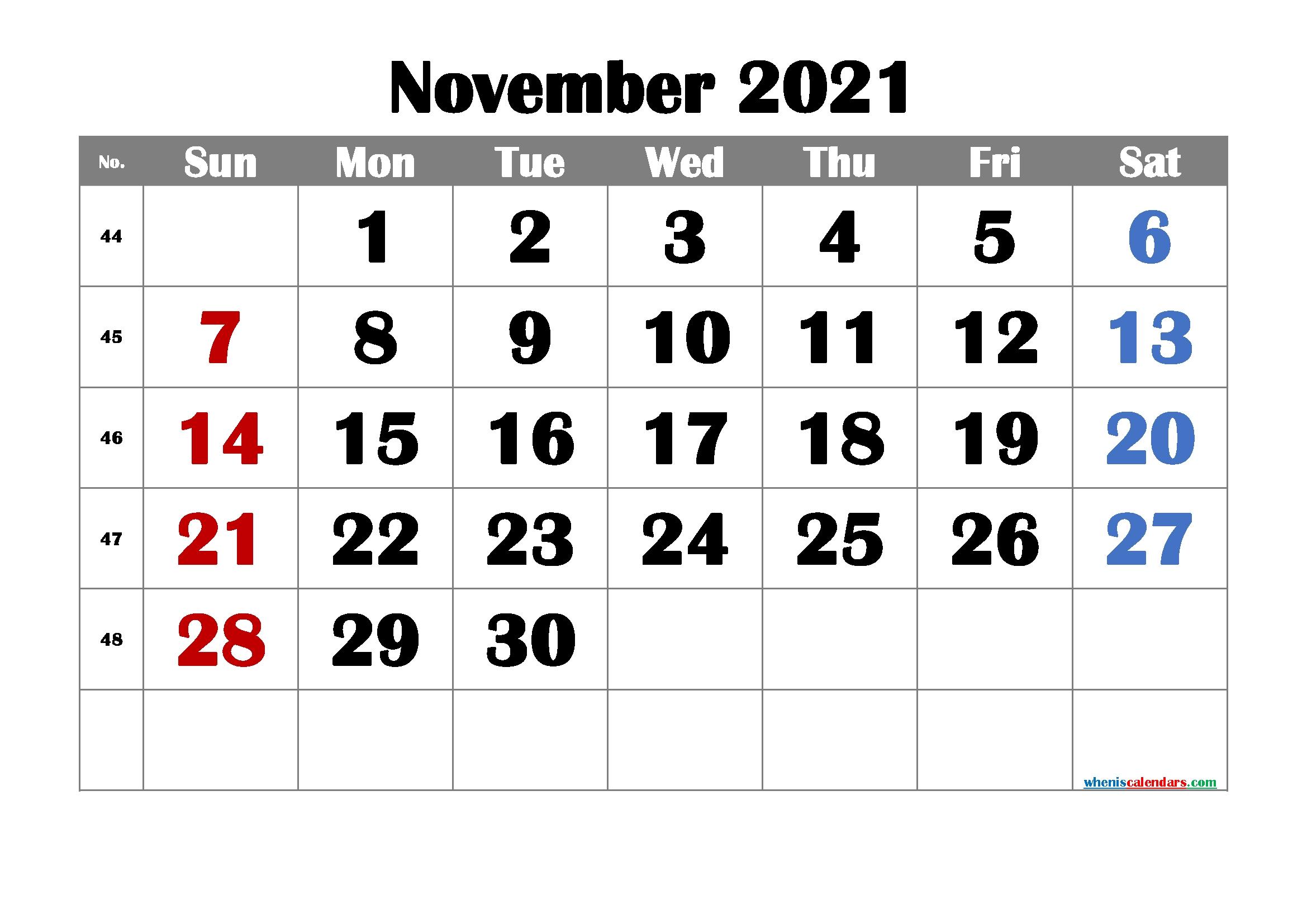 Free Printable November 2021 Calendar Printable Calendar For November 2021