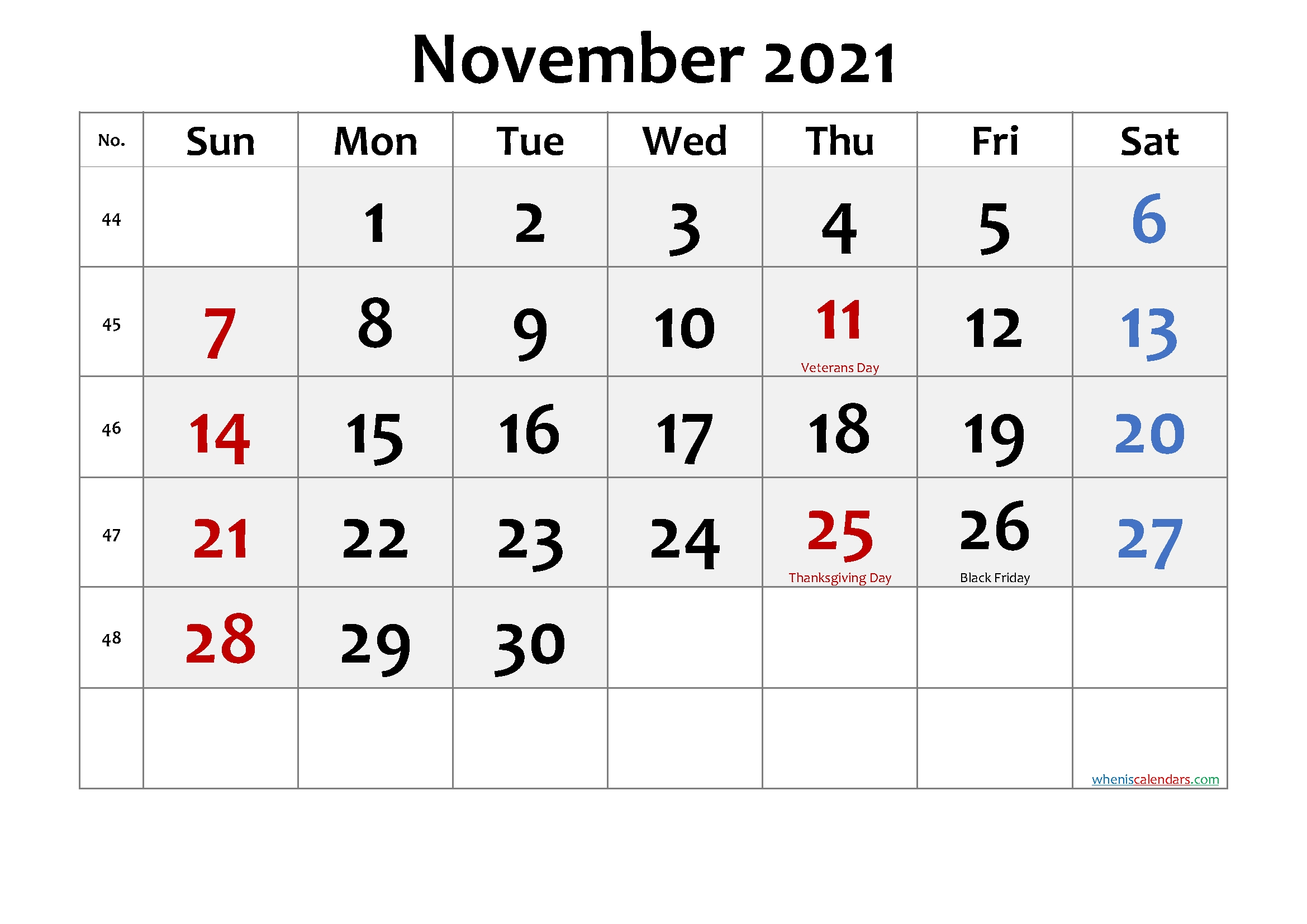 Free Printable November 2021 Calendar With Holidays Calendar For November 2021 With Holidays