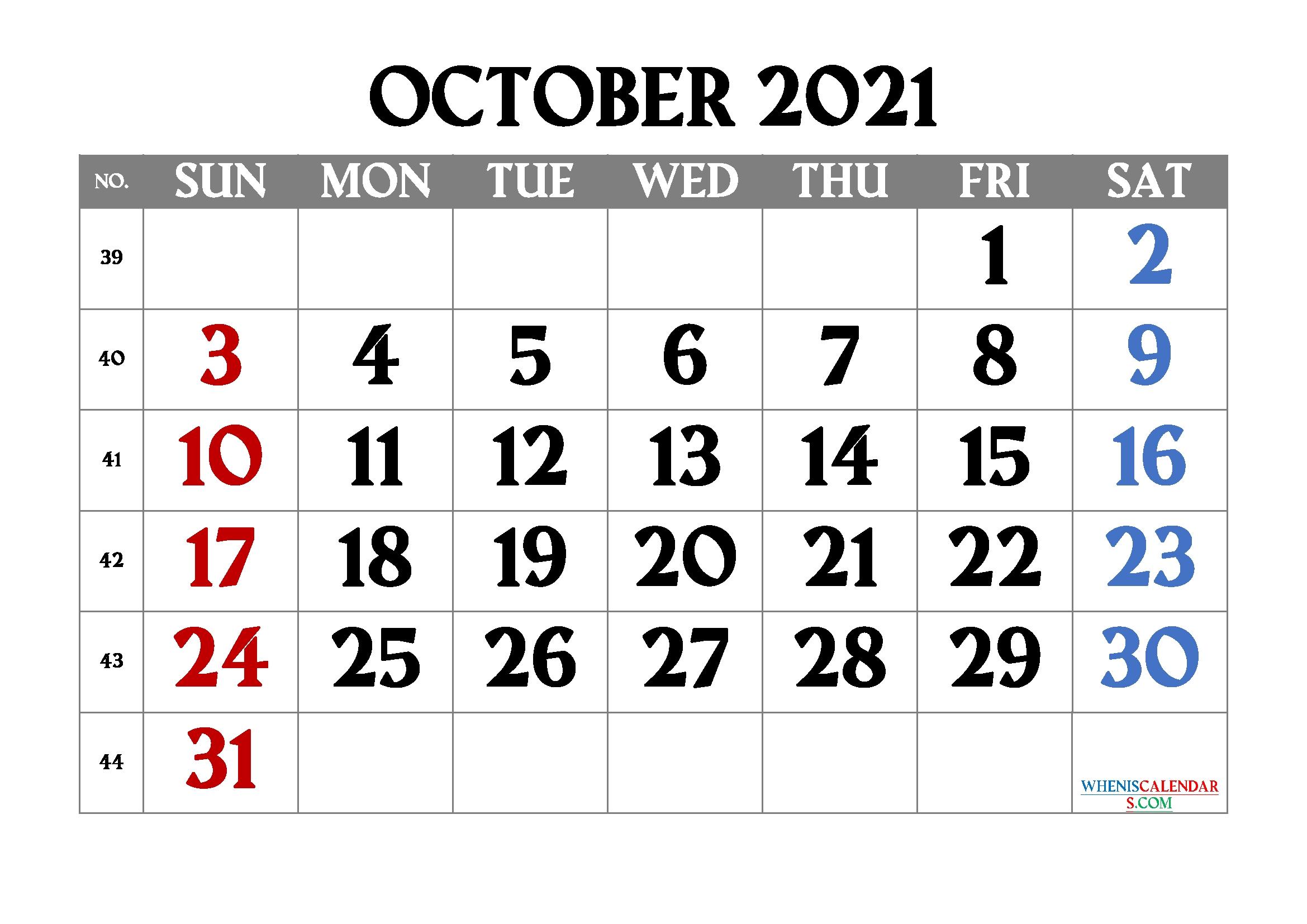 Free Printable October 2021 Calendar October 2021 Calendar To Print