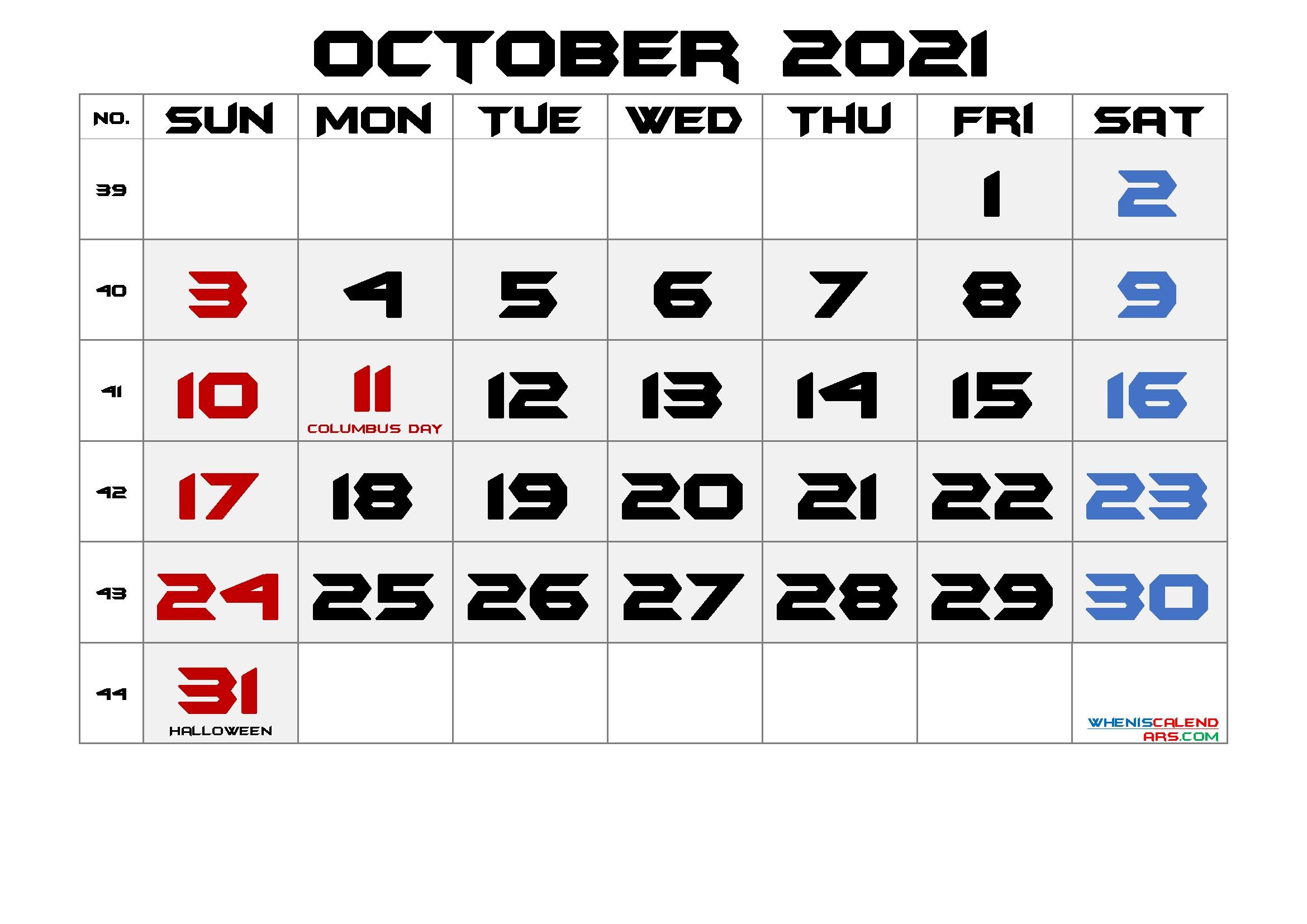 Free Printable October 2021 Calendar With Holidays October 2021 Calendar Cute