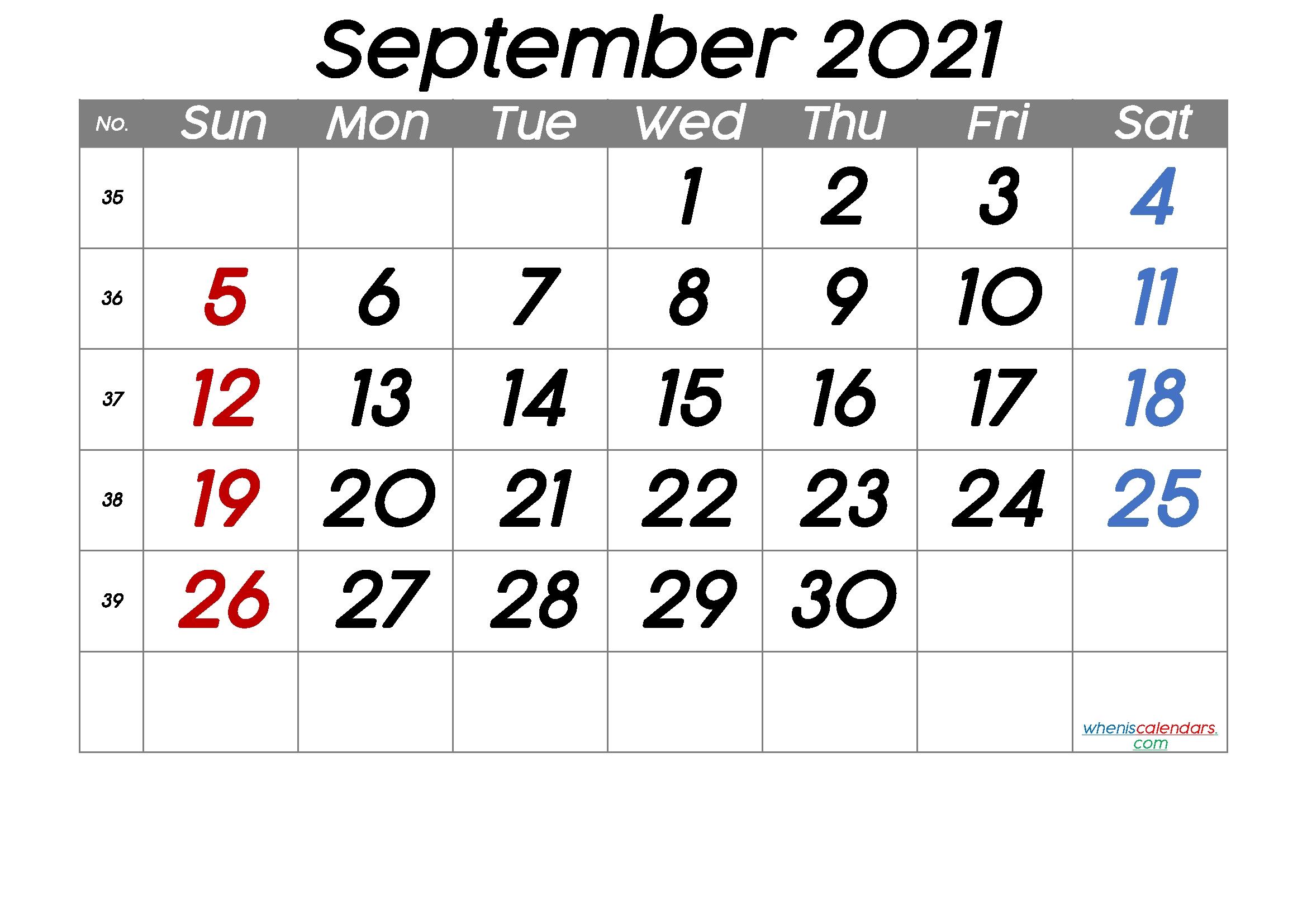 Free Printable September 2021 Calendar (Premium) September 2021 Calendar Pdf