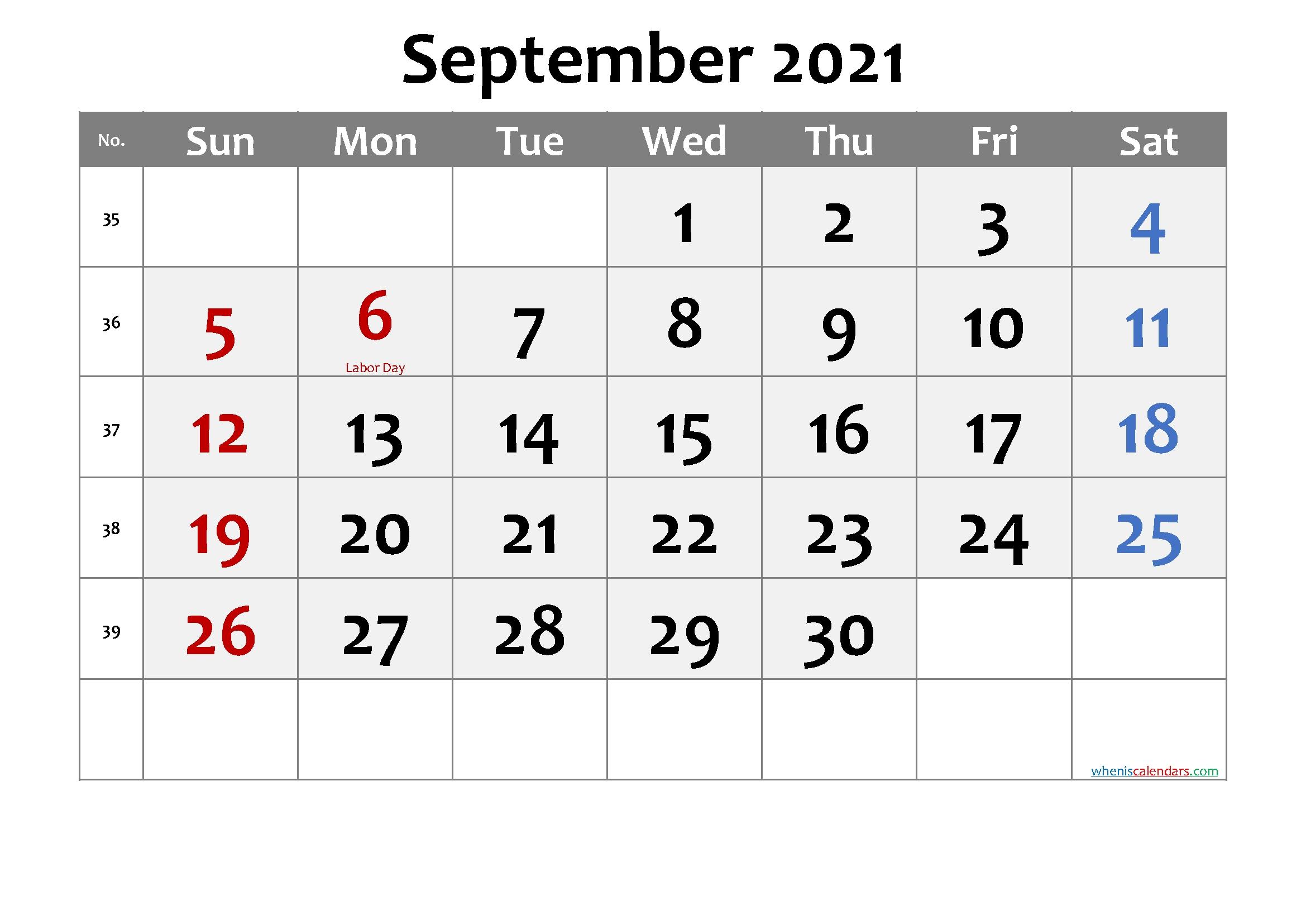 Free Printable September 2021 Calendar Printable Calendar September 2020 To September 2021