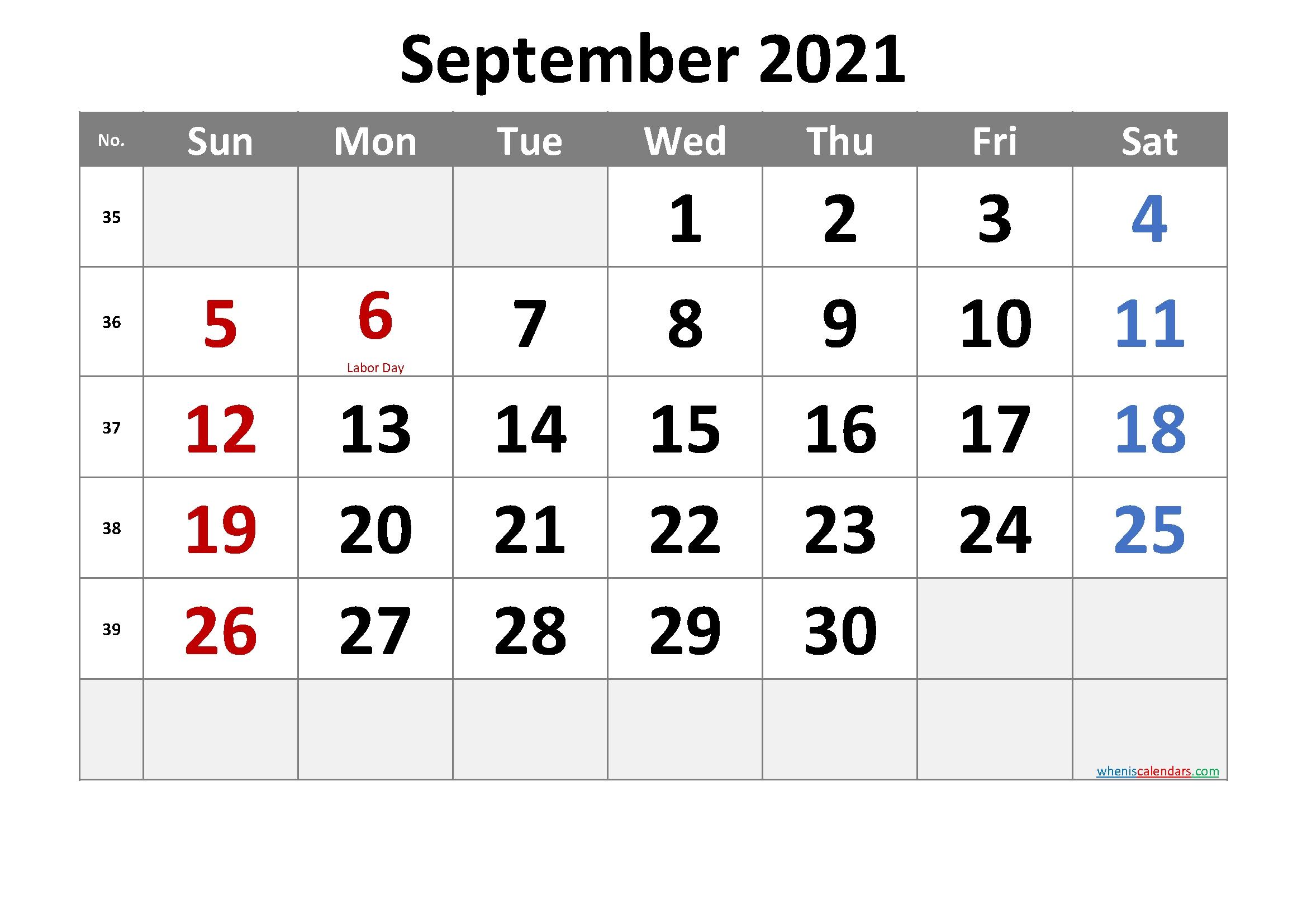 Free Printable September 2021 Calendar With Holidays September 2021 Calendar Template