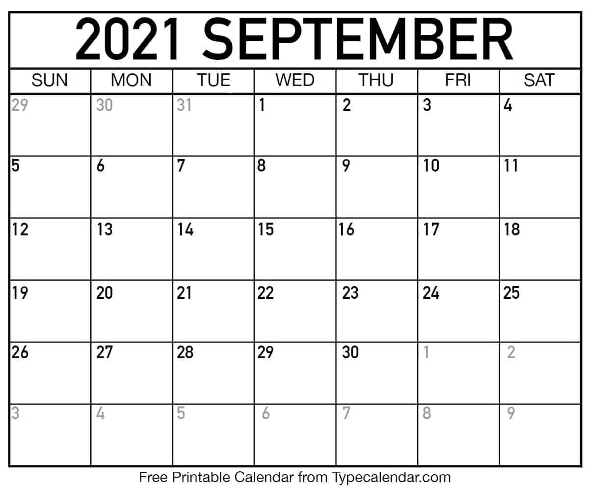 Free Printable September 2021 Calendars September To December 2021 Calendar