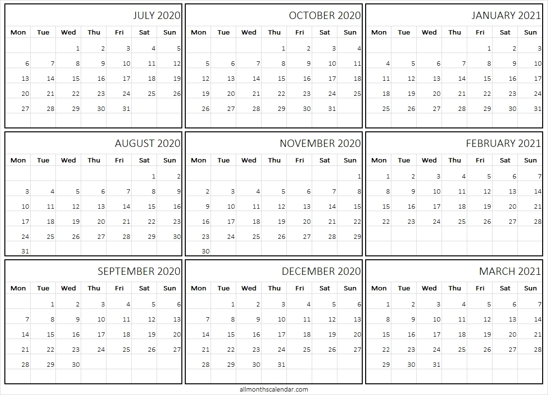 July 2020 To March 2021 Calendar Template - Free Monthly Calendar 2020 July 2020 To December 2021 Calendar