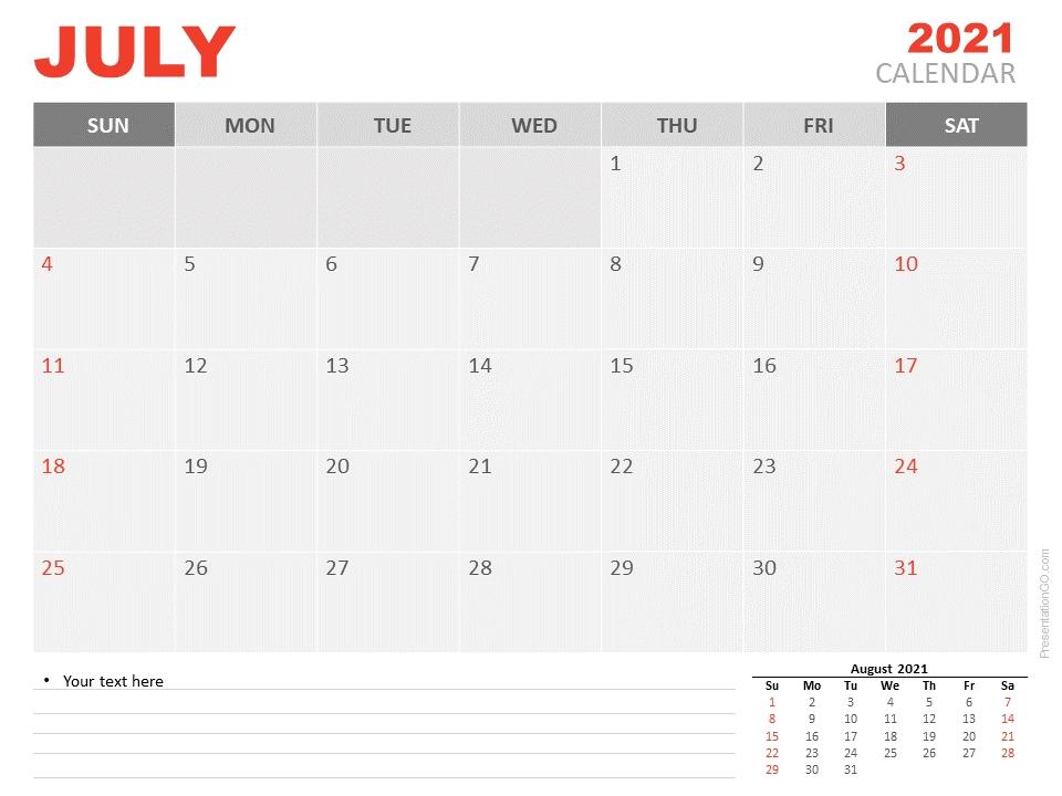 July 2021 Calendar For Powerpoint And Google Slides - Presentationgo Editable July 2021 Calendar
