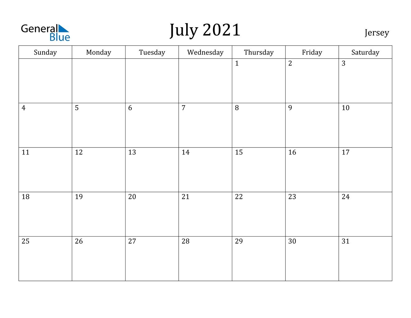 July 2021 Calendar - Jersey July 2020 To December 2021 Calendar