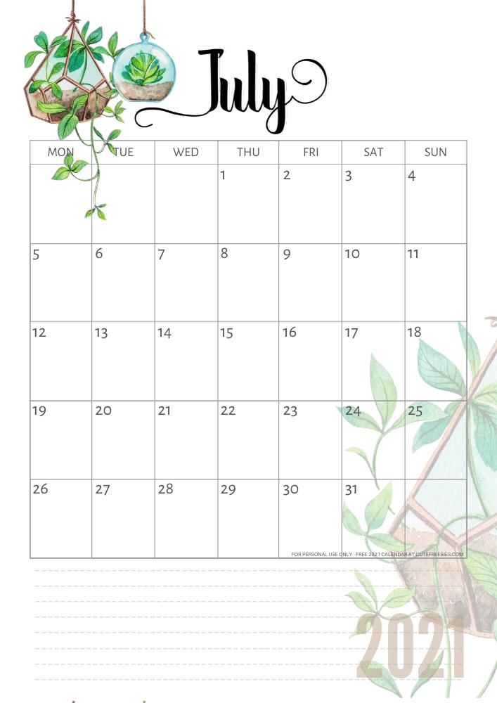 July-2021-Calendar-Plants - Cute Freebies For You February To July 2021 Calendar