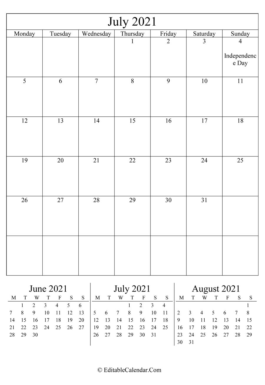 July 2021 Calendar Templates Editable July 2021 Calendar