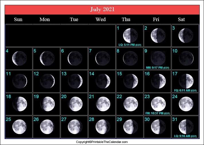 July 2021 Full Moon Calendar [Free Printable Template] July 2021 Lunar Calendar
