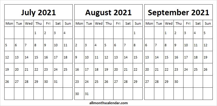 July August September 2021 Calendar - 2021 July Calendar To Print Next Year August Calendar 2021