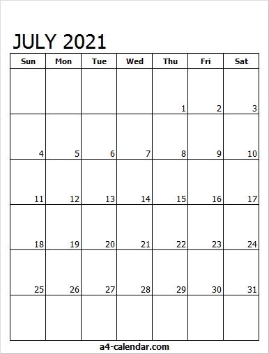 July Calendar 2021 Editable - A4 Calendar Editable July 2021 Calendar