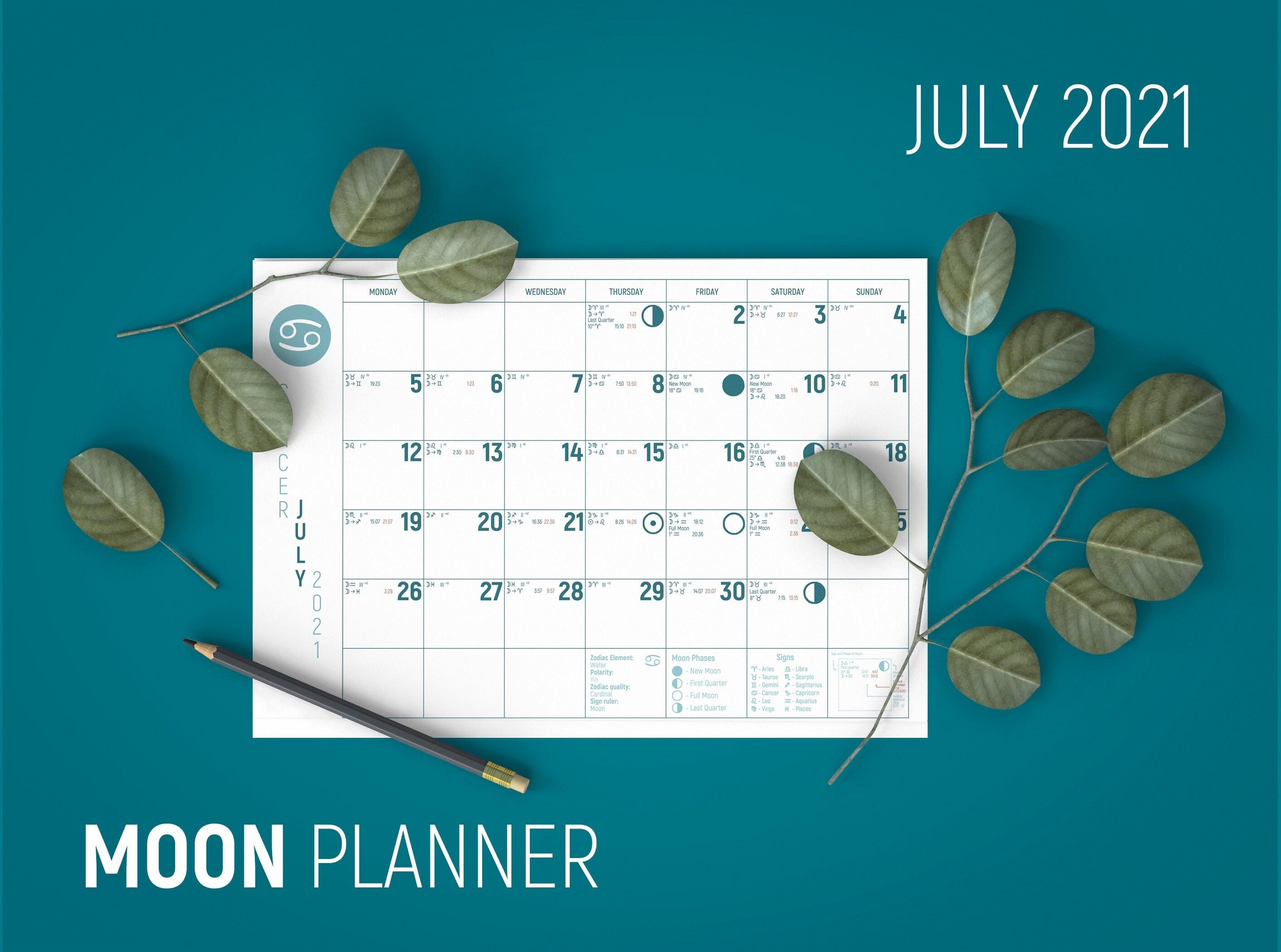 July Moon Calendar Astrology Planner 2021 July Planner | Etsy July 2021 Lunar Calendar