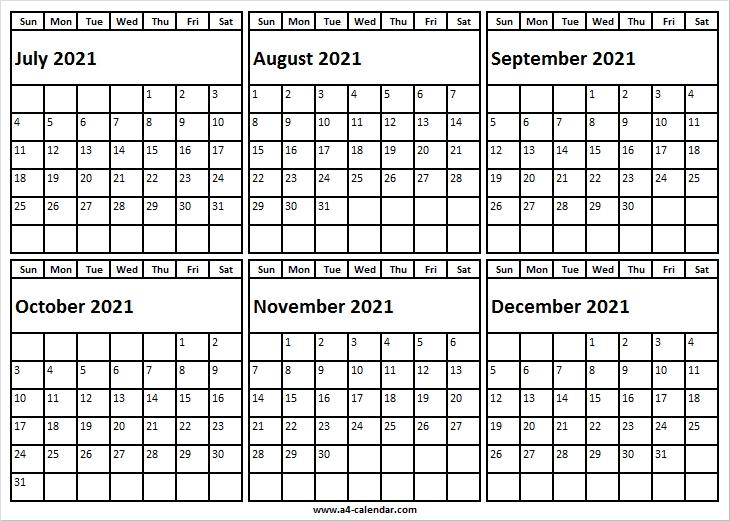 July To December 2021 Calendar Printable - A4 Calendar July 2020 To December 2021 Calendar