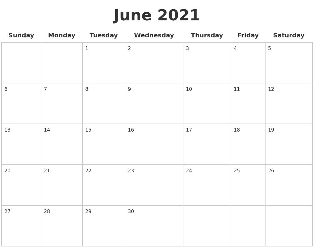 June 2021 Blank Calendar Pages June 2021 Calendar Blank