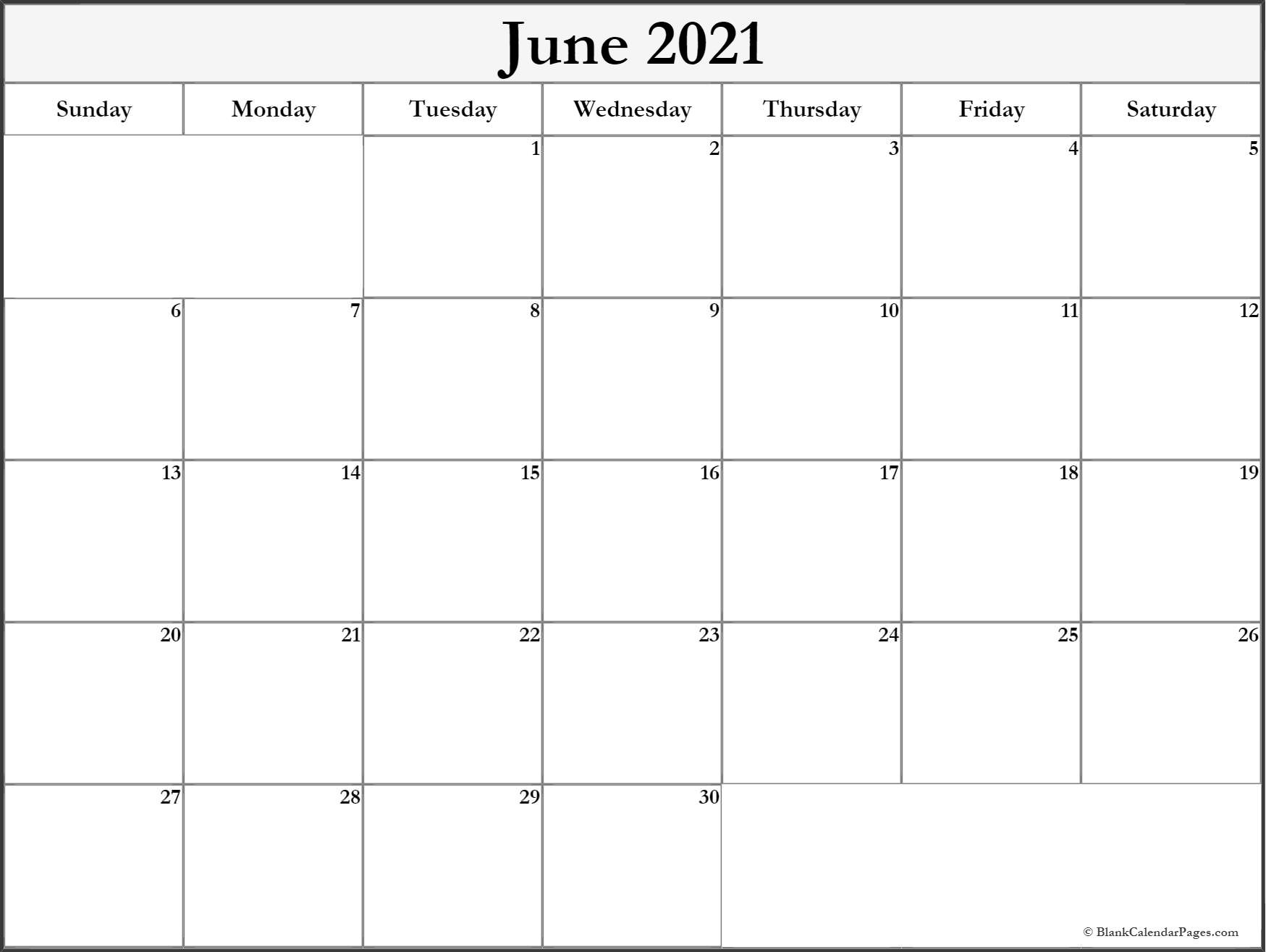 June 2021 Blank Calendar Templates. June 2021 Blank Calendar Printable