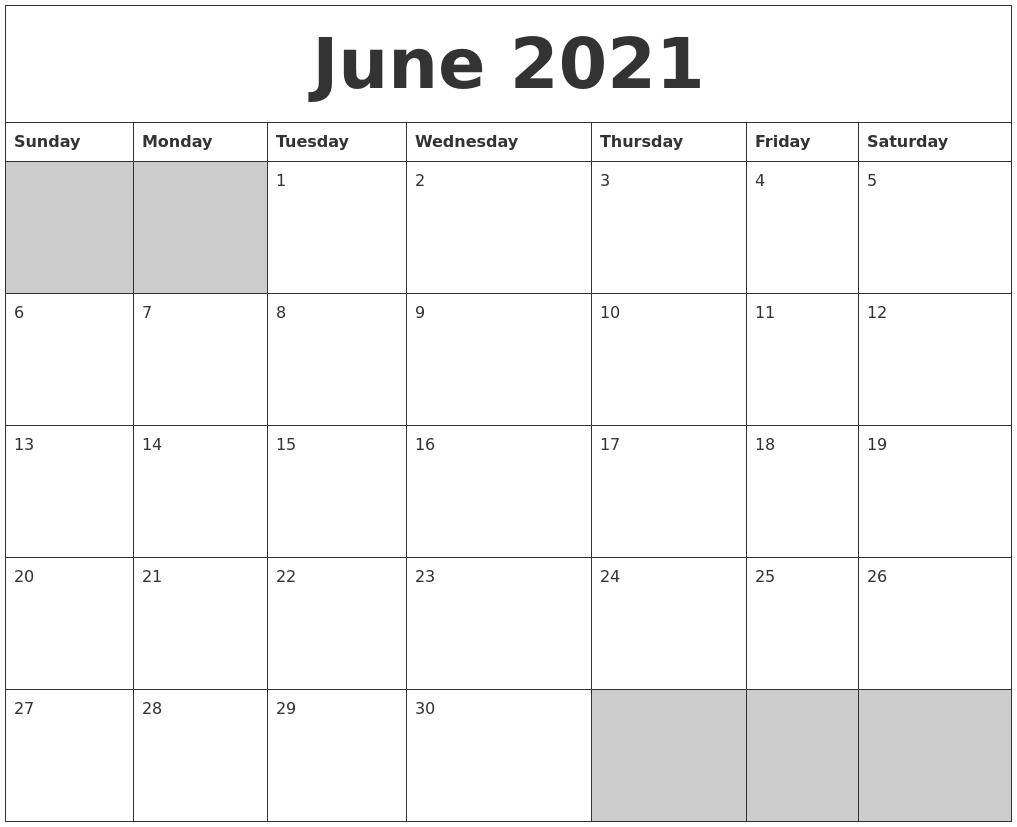 June 2021 Blank Printable Calendar June 2021 Calendar Blank