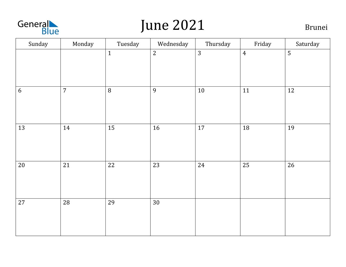 June 2021 Calendar - Brunei July 2021 Chinese Calendar