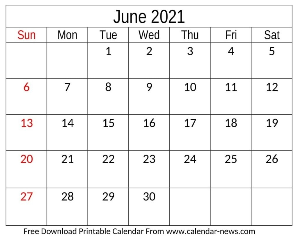 June 2021 Calendar For Blank And Floral Template | Calendar-News June 2021 Calendar Blank