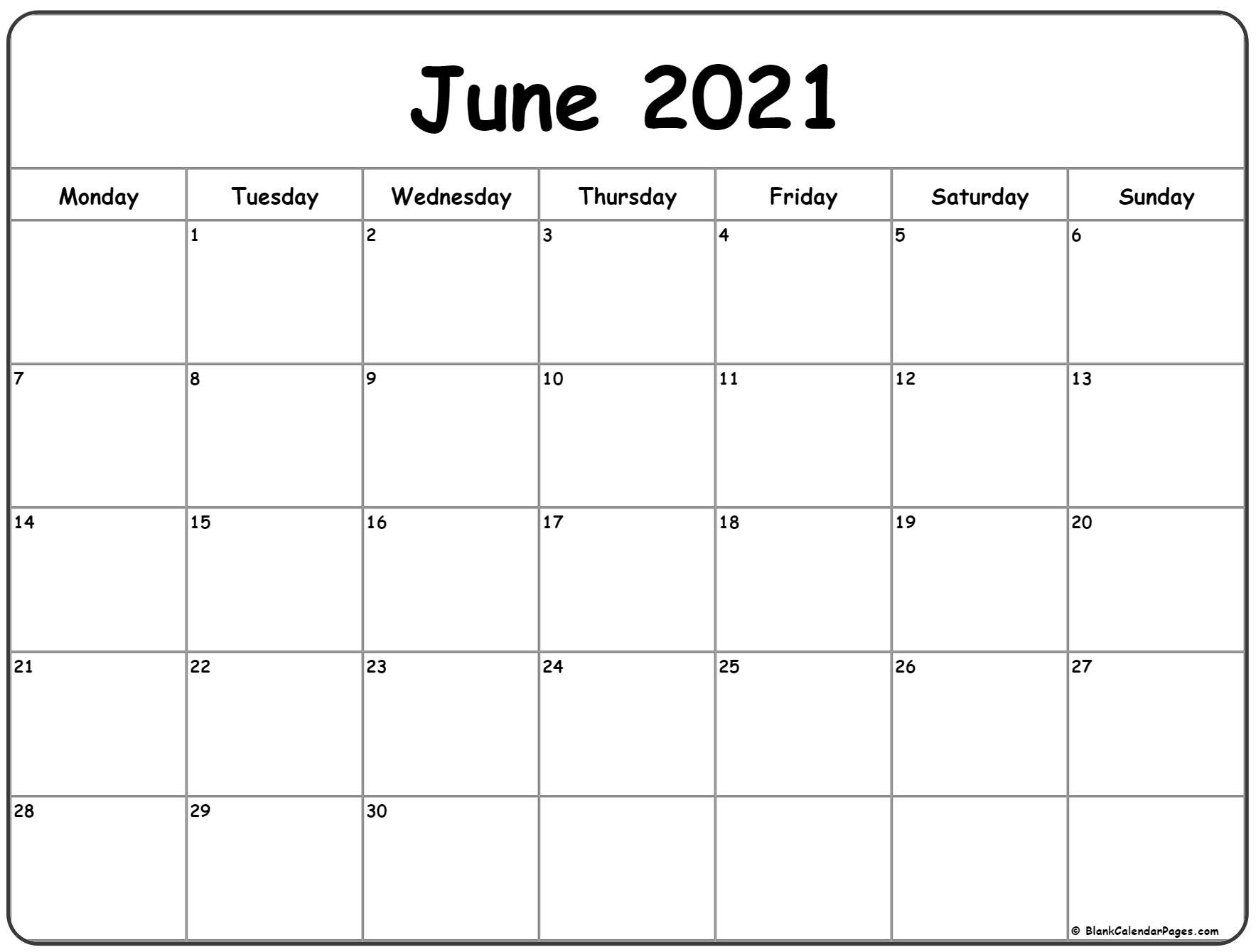 June 2021 Calendar List Template   Calendar Template Printable June 2021 Blank Calendar Printable