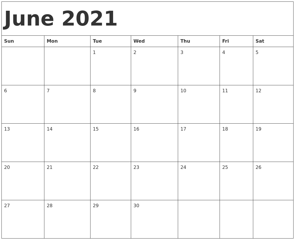 June 2021 Calendar Template February March April May June 2021 Calendar