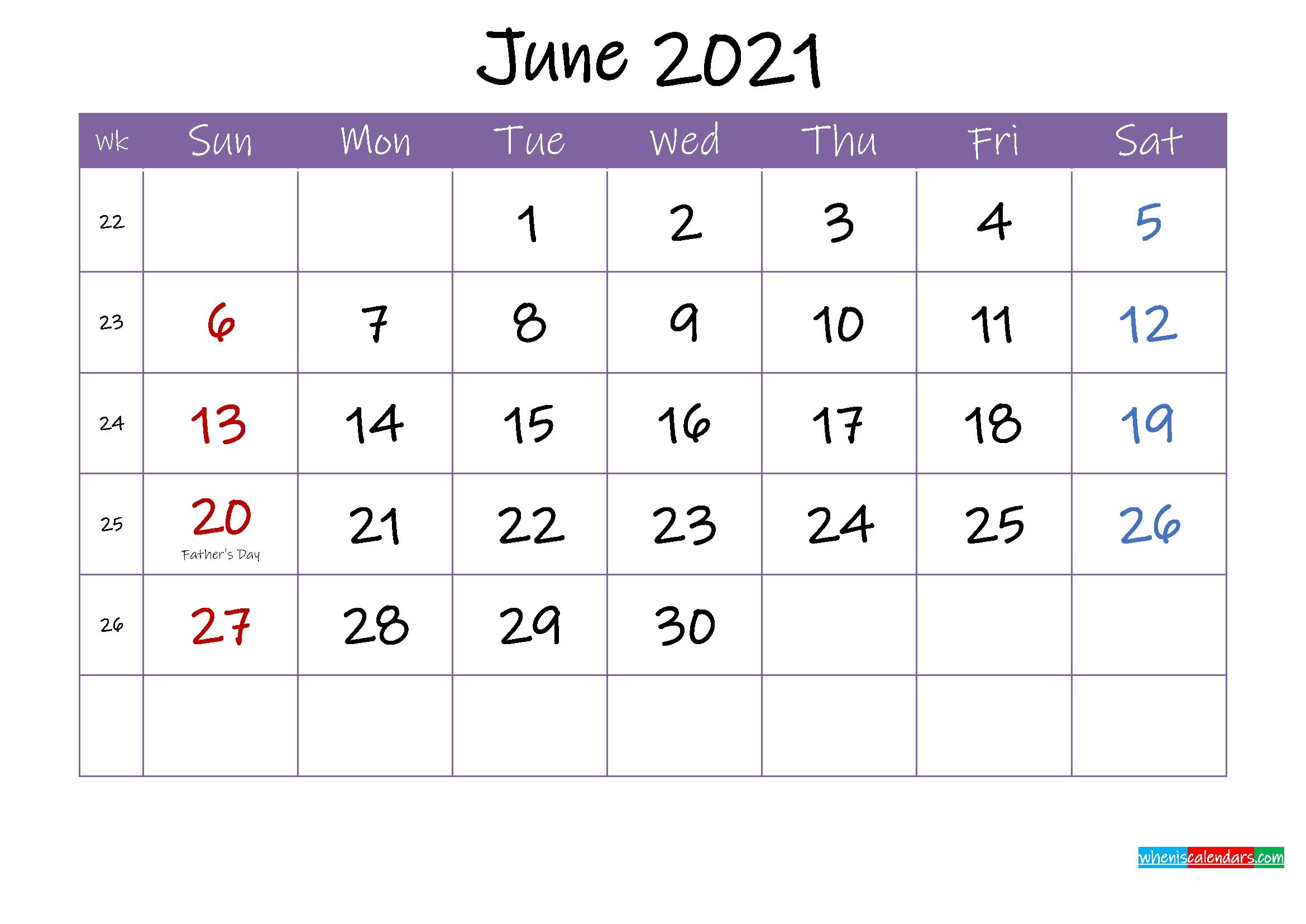 June 2021 Calendar With Holidays Printable - Template Ink21M54 June 2021 Blank Calendar Printable