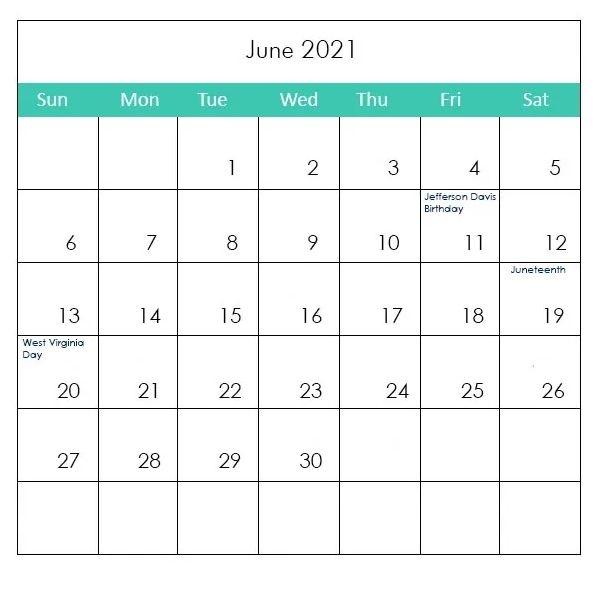 June 2021 Holidays Calendar Printable Free Download In 2021   Holiday Calendar Printable, 2021 June 2021 Calendar Holidays