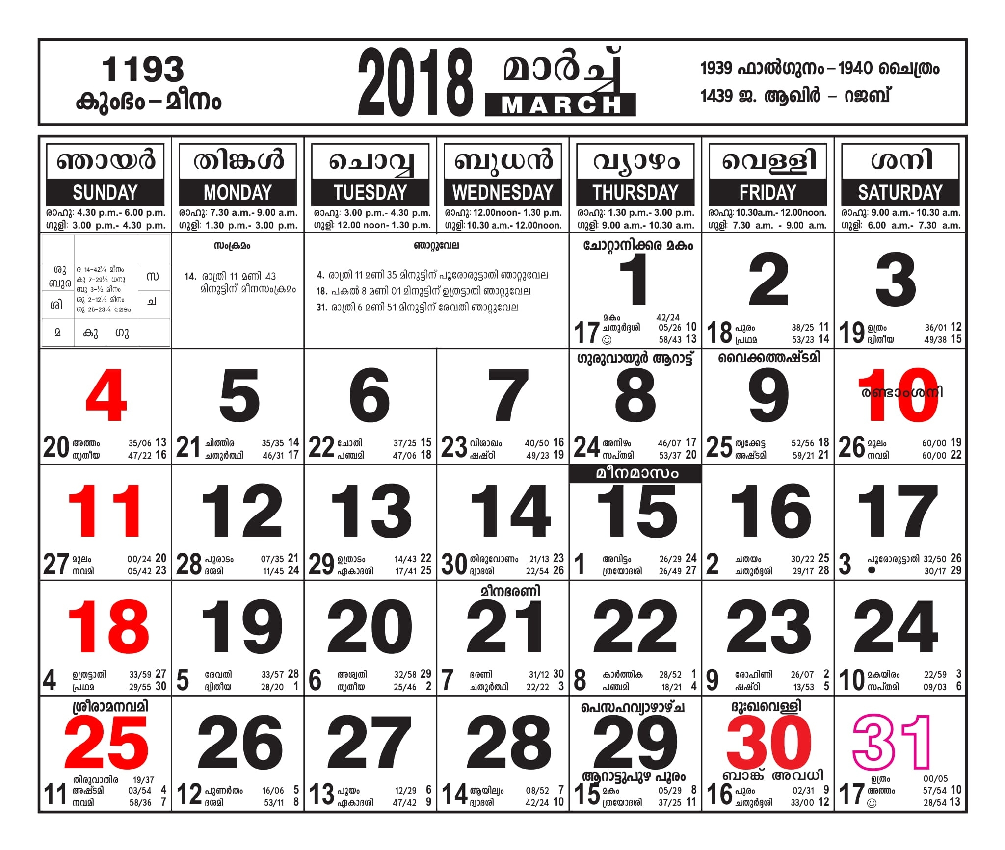 Malayalam Calendar March 2018 - Malayalamcalendars Malayalam Calendar 2021 October