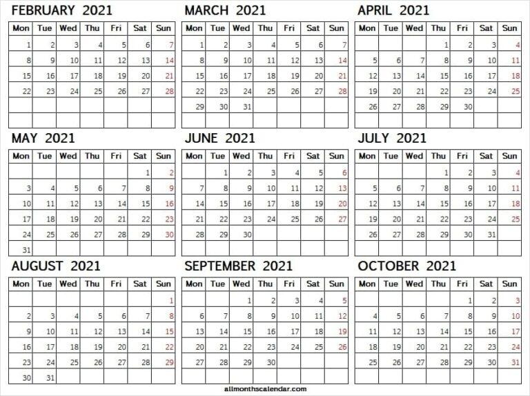 Monday Start Calendar Feb To Oct 2021 | Pinterest | Tumblr | Reddit October 2021 Calendar Starting Monday