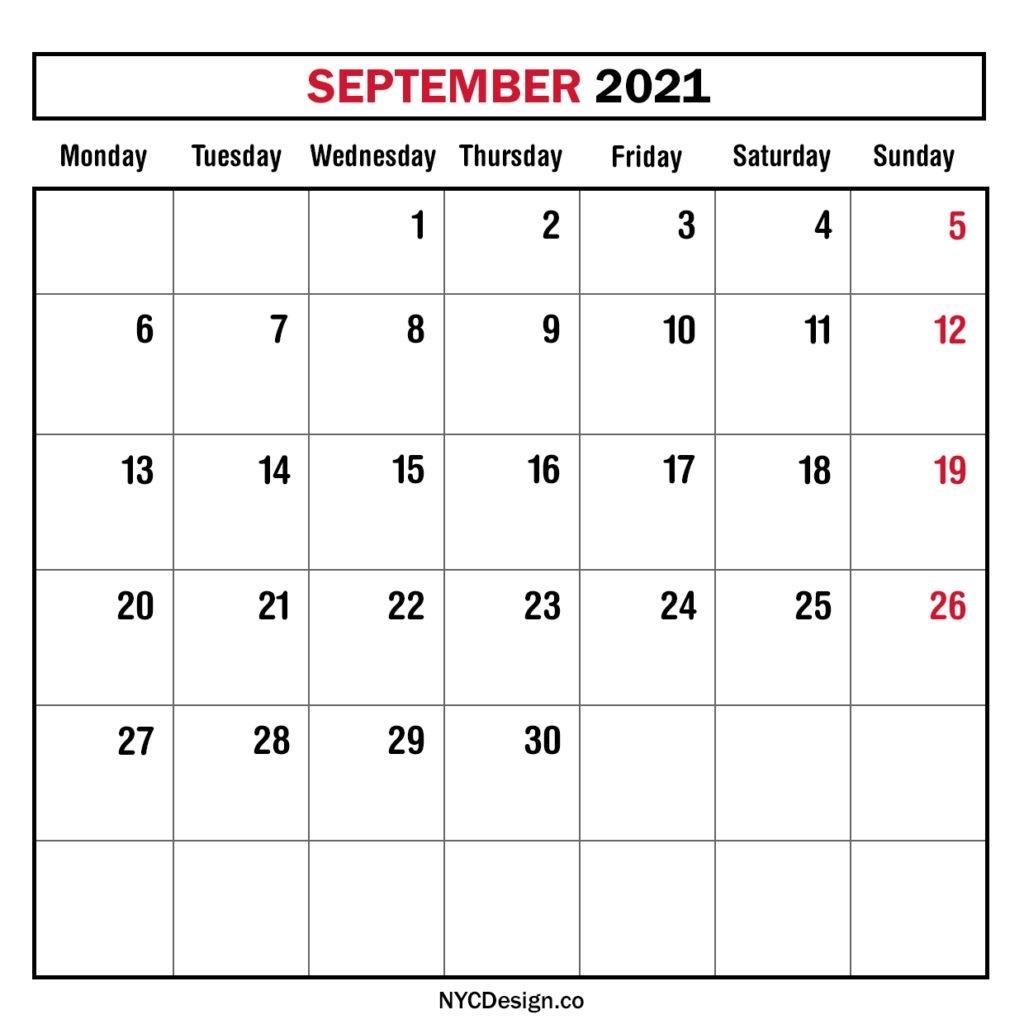 Monthly Calendar September 2021, Monthly Planner, Printable Free - Monday Start - Nycdesign.co 2021 Calendar September Month