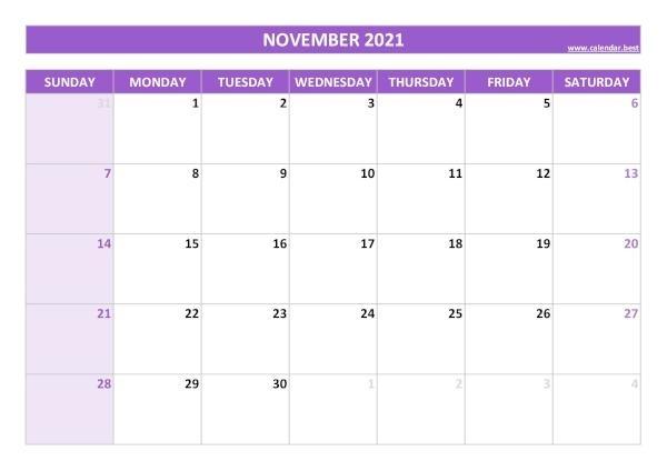 November 2021 Calendar -Calendar.best November 2021 Calendar Quiz