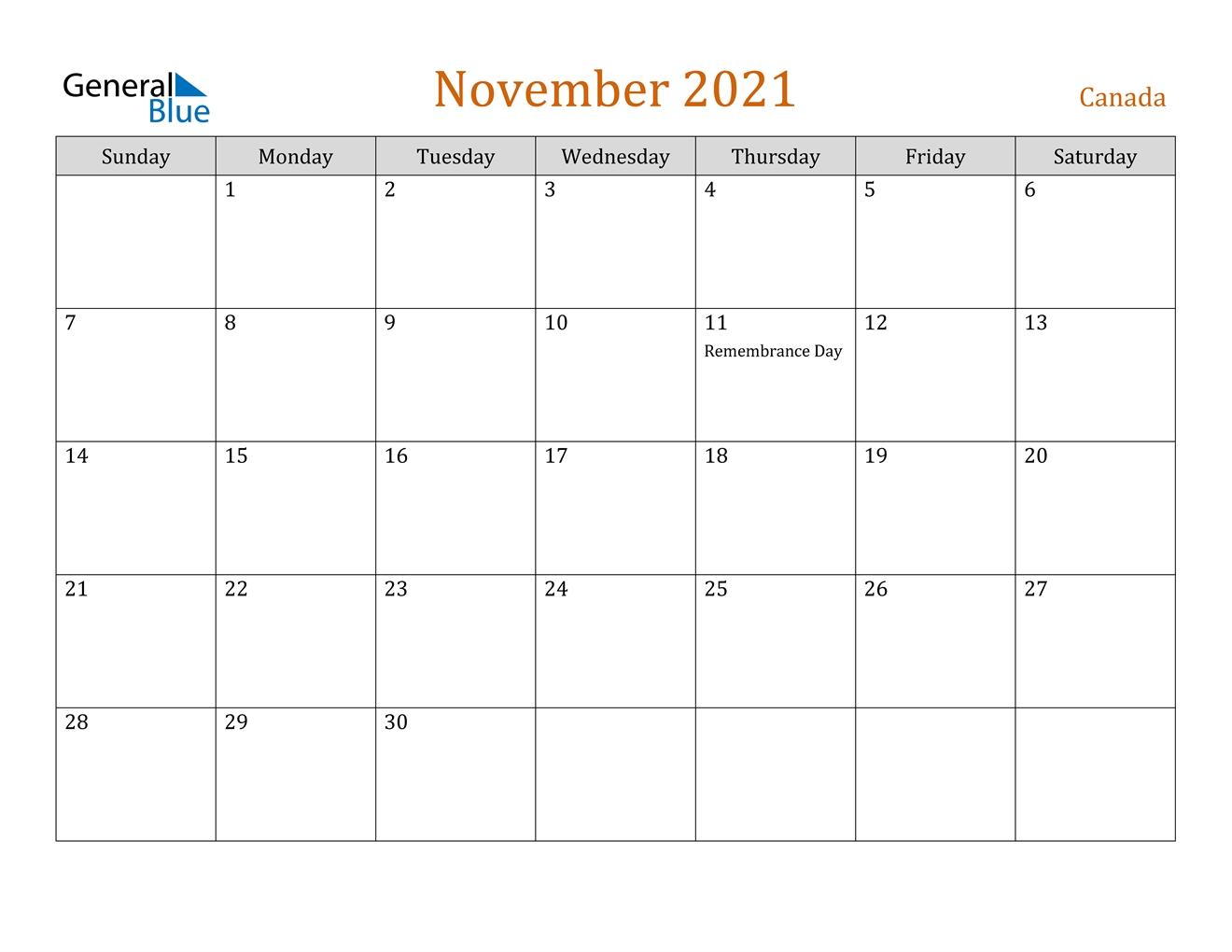 November 2021 Calendar - Canada November 2021 Calendar Quiz