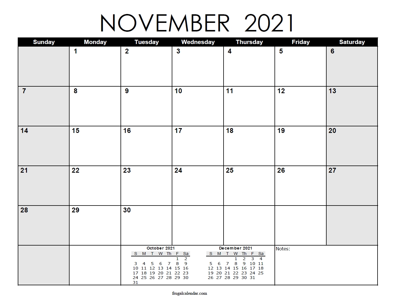 November | 2021 Calendars Printable Calendar For November 2021 With Holidays