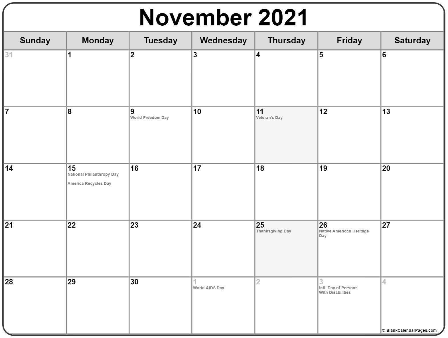 November 2021 Fill In Calendar | Calendar Template Printable November 2021 Calendar Quiz