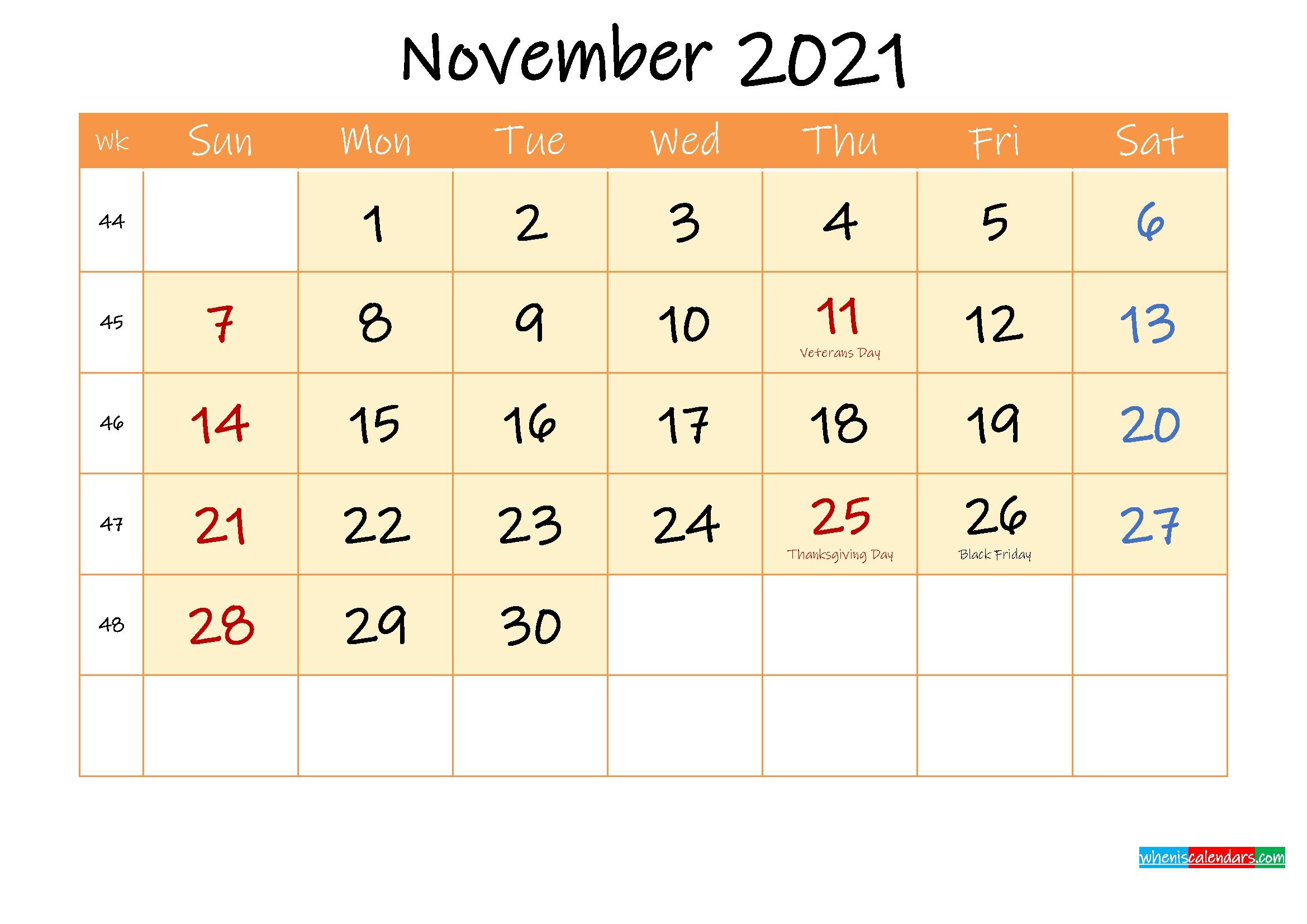 November 2021 Free Printable Calendar - Template Ink21M167 Printable Calendar For November 2021