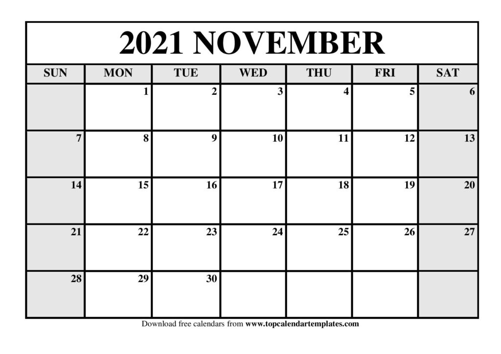 November 2021 Printable Calendar - Monthly Templates Printable Calendar For November 2021