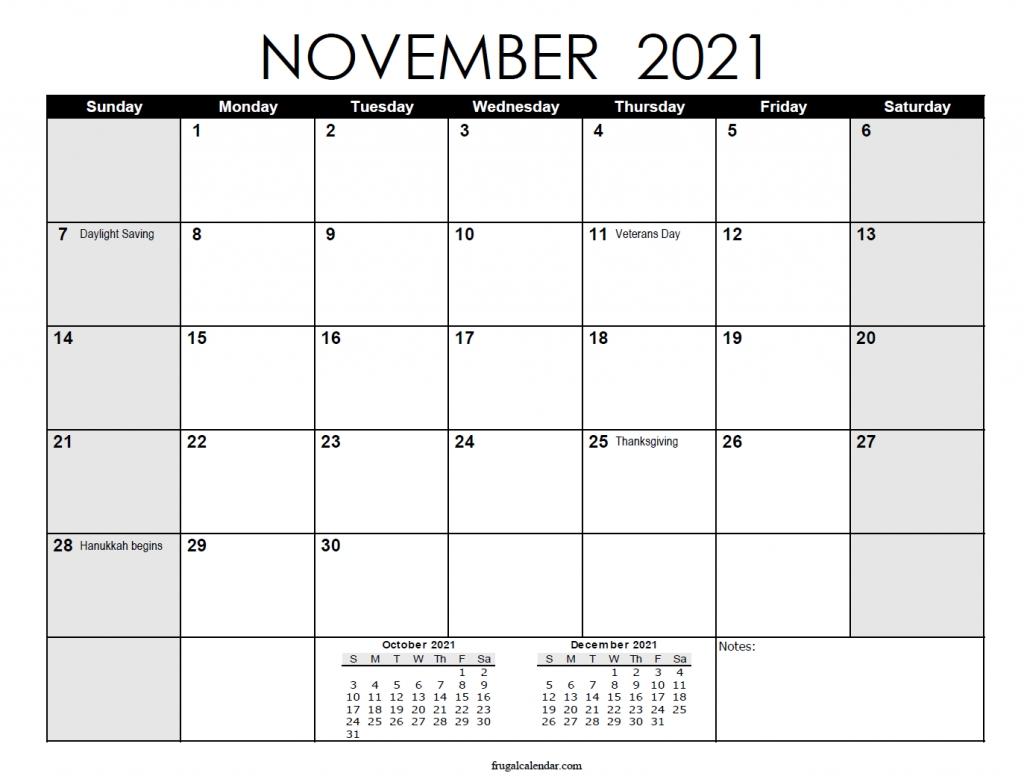 November Calendar 2021   2021 Calendars Printable Printable Calendar For November 2021