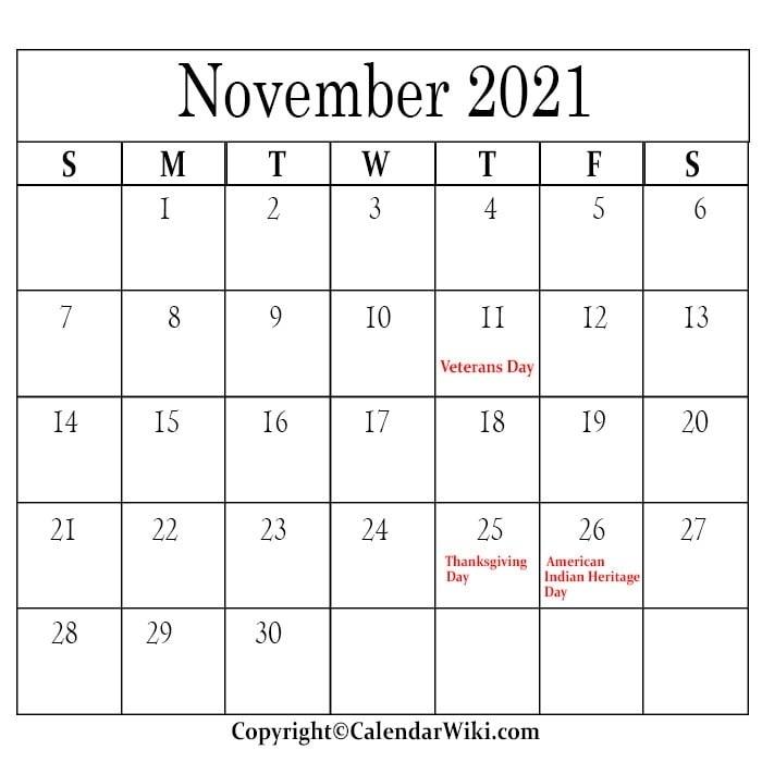 November Holidays 2021 | Anexa Wild Calendar For November 2021 With Holidays