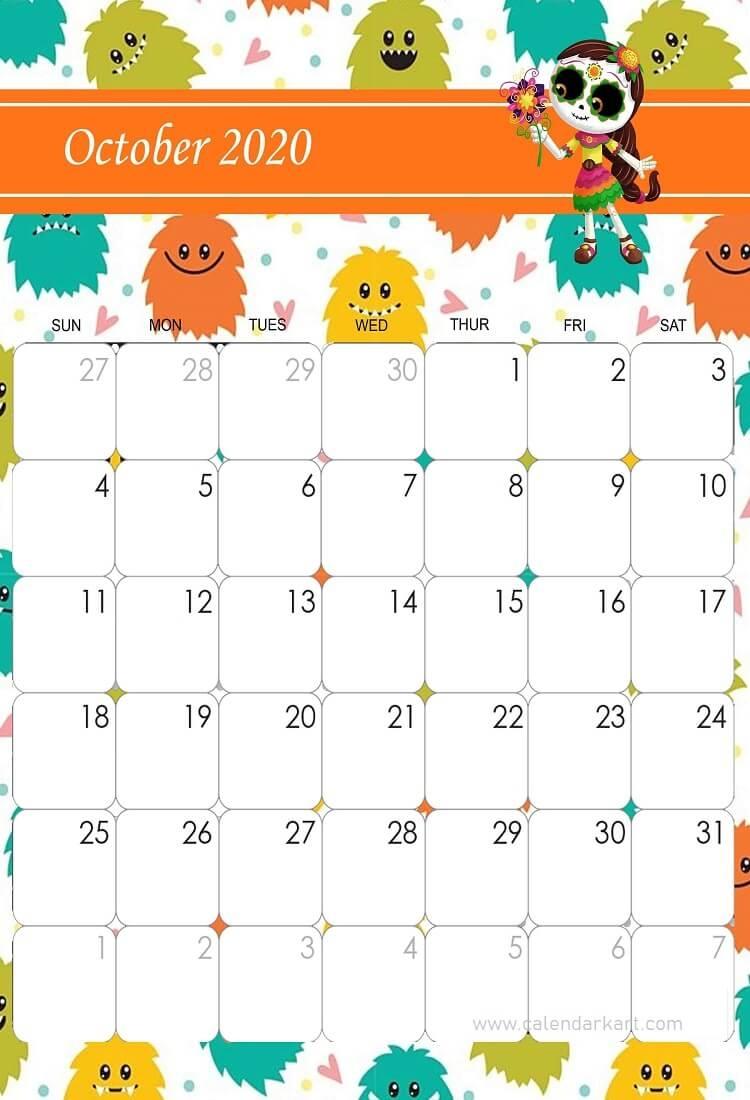 October 2020 Calendar Halloween Theme   Kids Calendar, Halloween Calendar, Cute Calendar October 2021 Calendar Cute