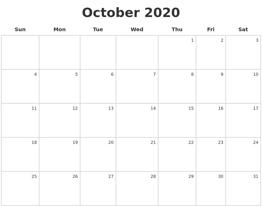 October 2020 Make A Calendar Printable Calendar October 2020 To September 2021