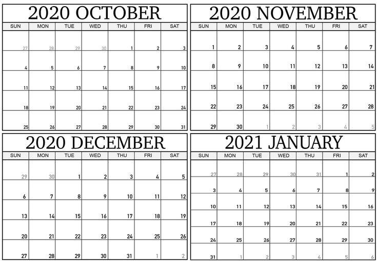 October 2020 To January 2021 Calendar Template   June Calendar Printable, Calendar Printables October 2020 To January 2021 Calendar