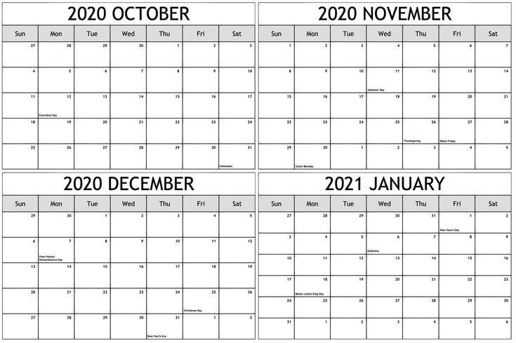 October 2020 To January 2021 Calendar With Holidays | Calendar Printables, December Calendar Calendar December 2020 January 2021