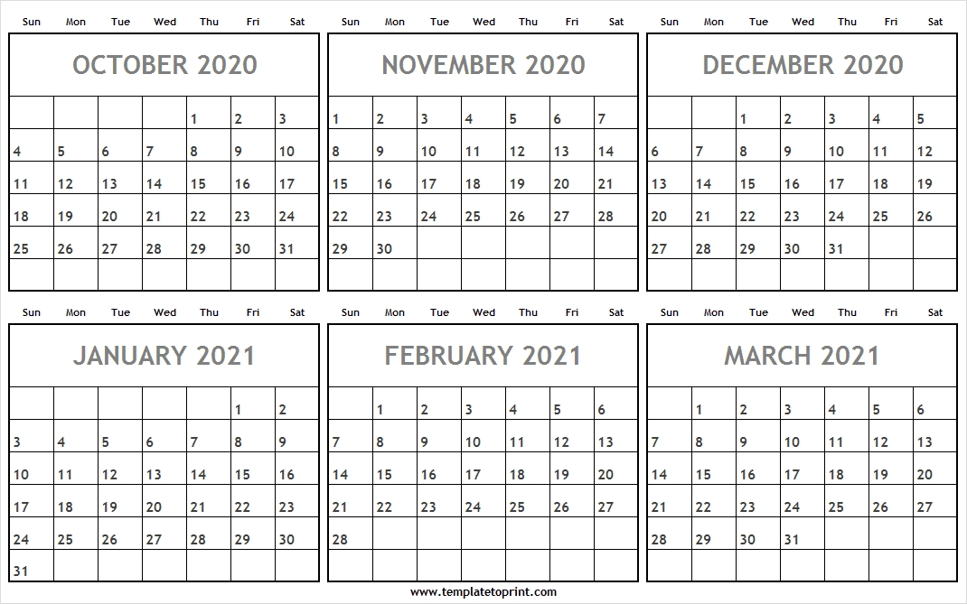 October 2020 To March 2021 Calendar Word - Monthly Planner 2020 October 2020 To January 2021 Calendar