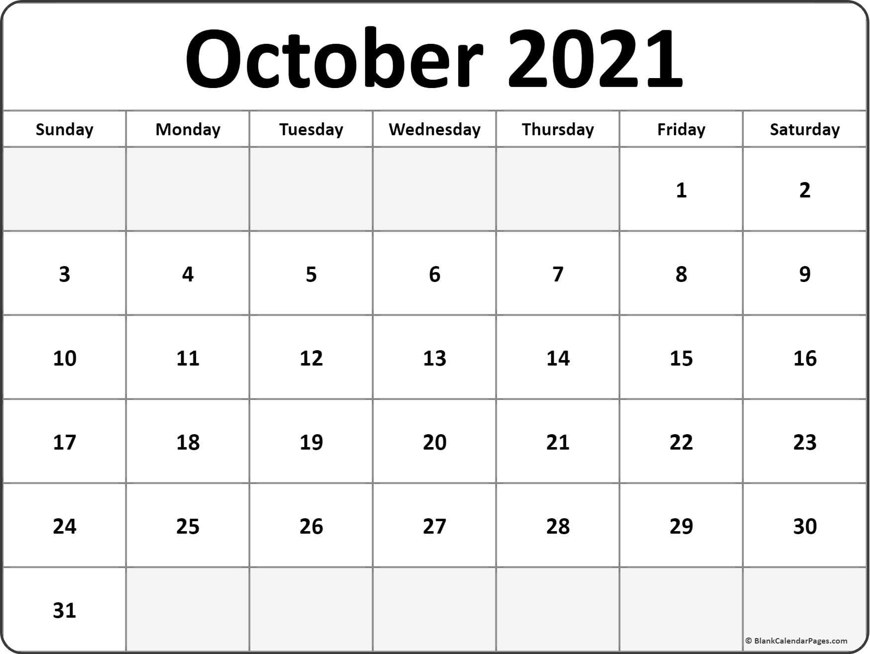 October 2021 Blank Calendar Templates. October 2020 To January 2021 Calendar