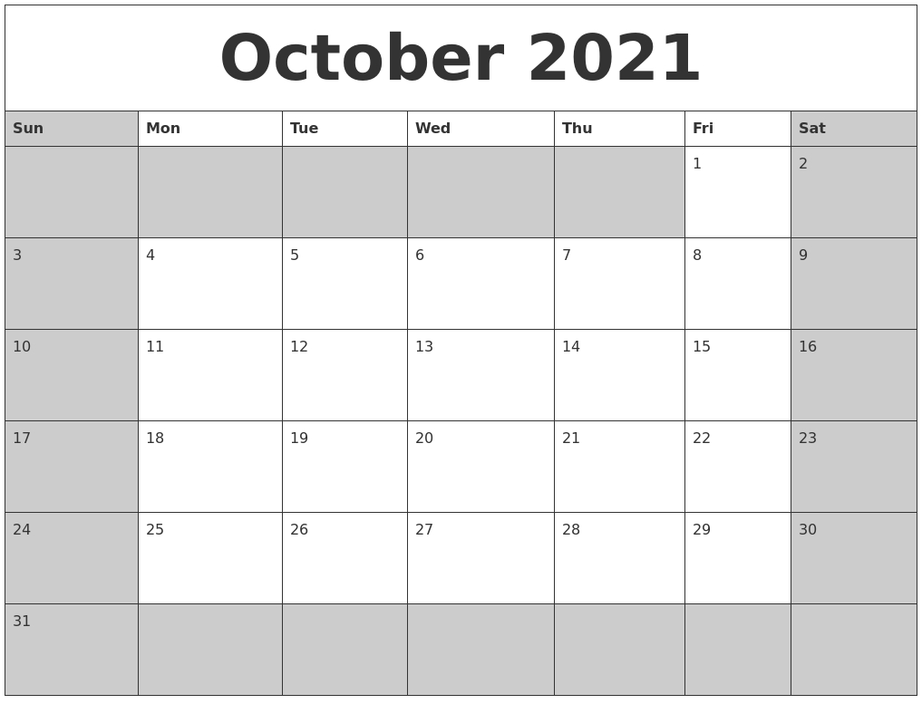 October 2021 Calanders October 2020 To January 2021 Calendar